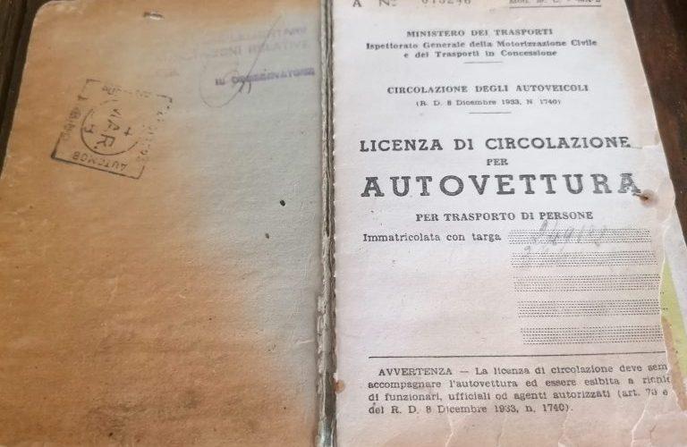 I DOCUMENTI ORIGINALI DEI VEICOLI STORICI SONO SALVI!