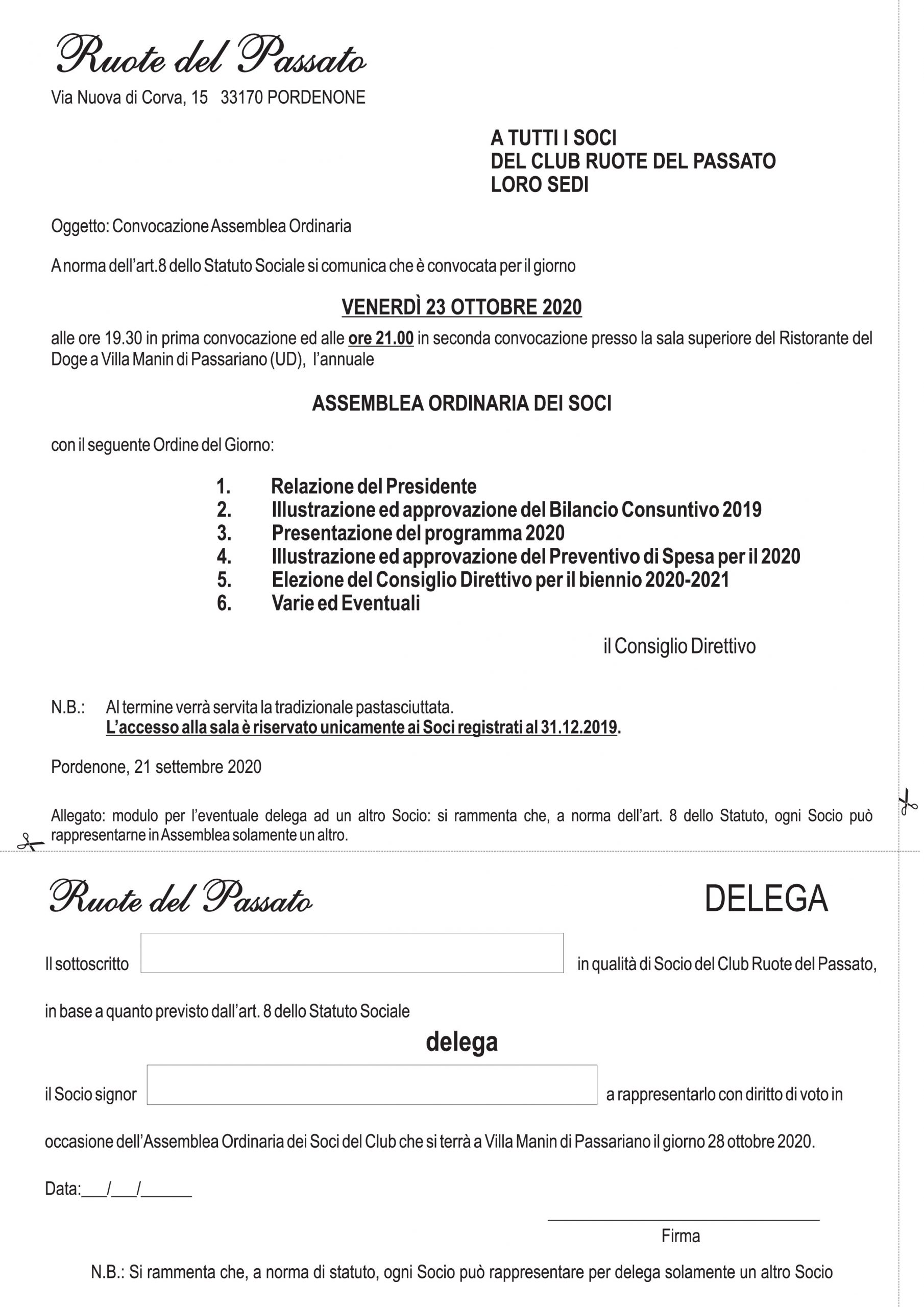 CONVOCAZIONE ASSEMBLEA ORDINARIA VENERDI 23 OTTOBRE 2020